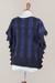 Alpaca blend sweater, 'Prussian Blue Stripes' - Knit Alpaca Blend Sweater in Midnight from Peru (image 2f) thumbail