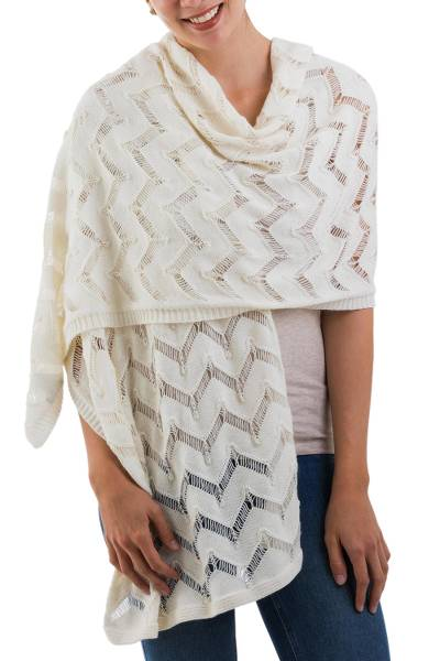 Alpaca blend shawl, 'Ivory Queen' - Knit Alpaca and Wool Blend Shawl in Ivory from Peru