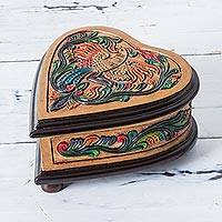 Leather and wood jewelry box, 'Fruitful Heart' - Birds and Flowers Leather on Cedar Wood Jewelry Box