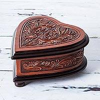 Leather and cedar wood jewelry box, 'Abundant Heart' - Wood Heart Shaped Jewelry Box with Floral Motif from Peru
