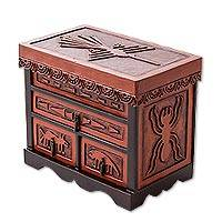 Leather and cedar wood jewelry box, 'Nazca Chamber' - Hand Carved Wood Jewelry Box with Nazca Motif from Peru