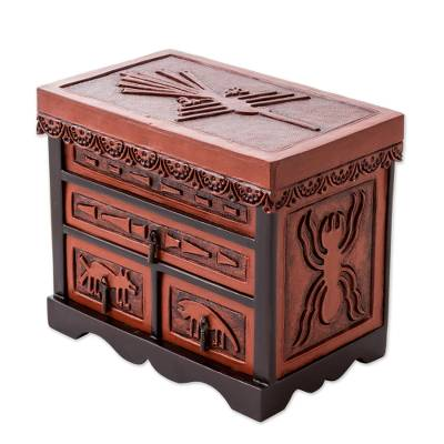 Leather and cedar wood jewelry box, Nazca Chamber