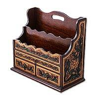 Cedar and leather organizer, 'Floral Intrigue' - Cedar and Leather Organizer with Floral and Bird Motifs