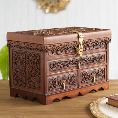 Leather and wood jewelry box, 'Paradise Memories' - Leather and Wood Wood Jewelry Box with Bird Motifs