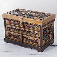Leather and cedar wood jewelry box, 'Free Birds' - Peruvian Hand Made Multicolored Wood and Leather Jewelry Box