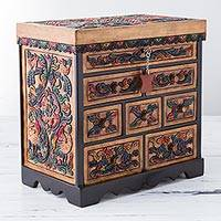 Leather and cedar wood jewelry box, 'Multicolored Garden' - Multicolored Cedar Wood and Leather Floral Jewelry Box