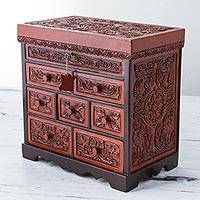 Leather and cedar wood jewelry box, 'Eternal Garden' - Cedar Wood and Leather Jewelry Box with Floral Bird Motifs
