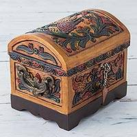 Wood and leather jewelry box, 'Colorful Birds' - Multicolored Leather and Wood Jewelry Box with Birds Peru