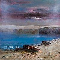'Boats in Paracas' (2015) - Realist Painting Peruvian Paracas Seascape Signed Art