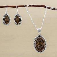 Sterling silver and mate gourd jewelry set, 'Bird Waltz' - Sterling Silver and Mate Gourd Bird Jewelry Set from Peru
