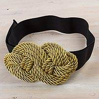 Stretch belt, 'Gold Dominion' - Modern Rope Stretch Belt in Gold and Black from Peru