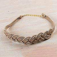 Rope belt, 'Modern Braids in Sand' - Peruvian Hand Made Modern Rope Belt in Sand Color