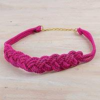 Rope belt, 'Modern Braids in Fuchsia' - Hand Made Fuchsia Modern Rope Belt from Peru