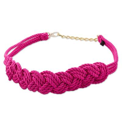 Hand Made Fuchsia Modern Rope Belt from Peru