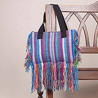 Wool shoulder bag, 'Fringed Stripes in Blue' - Hand Woven Striped Wool Shoulder Bag in Blue from Peru