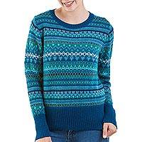 100% alpaca sweater, 'Azure Dreams' - Blue 100% Alpaca Pullover Sweater from Peru