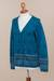 100% alpaca cardigan, 'Dreamy Blues' - Teal 100% Alpaca Wool Cardigan Sweater from Peru (image 2e) thumbail