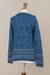 100% alpaca cardigan, 'Dreamy Blues' - Teal 100% Alpaca Wool Cardigan Sweater from Peru (image 2f) thumbail