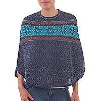 100% alpaca mini poncho, 'Andean Evening' - Blue 100% Alpaca Wool Mini Poncho from Peru
