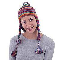 100% alpaca chullo hat, 'Tactile Rainbow' - Striped Multicolored Alpaca Chullo Hat with Pompom from Peru