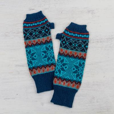 100% alpaca fingerless mitts, 'Andean Snowfall' - 100% Alpaca Fingerless Gloves in Azure and Smoke from Peru