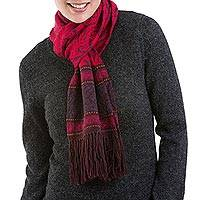 Alpaca blend scarf, 'Crimson Andes' - Alpaca Blend Knit Scarf in Crimson and Boysenberry from Peru