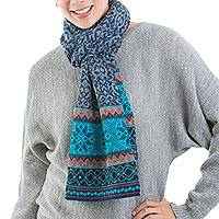 100% alpaca scarf, 'Andean Snowfall' - 100% Alpaca Wrap Scarf in Azure and Smoke from Peru