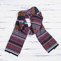 100% alpaca scarf, 'Andean Pride' - Multicolored 100% Alpaca Wrap Scarf from Peru