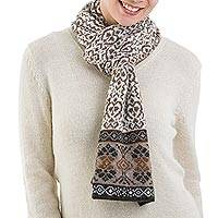 100% alpaca scarf, 'Andean Patterns' - 100% Alpaca Wrap Scarf in Tan and Eggshell from Peru