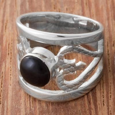 best silver rings design works - Obsidian and Sterling Silver Cocktail Ring from Peru