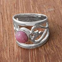Rhodonite cocktail ring, 'Inseparable Love' - Rhodonite and Sterling Silver Cocktail Ring from Peru
