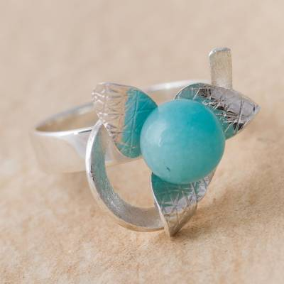 Amazonite floral cocktail ring, 'Floating Flower' - Amazonite and Sterling Silver Floral Cocktail Ring from Peru