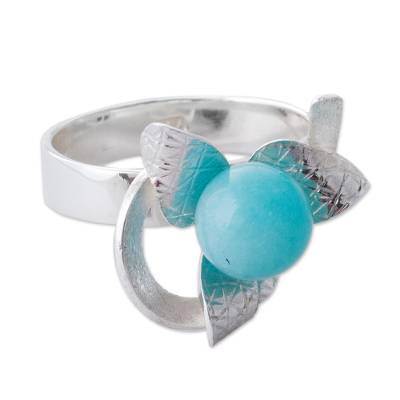 Amazonite and Sterling Silver Floral Cocktail Ring from Peru