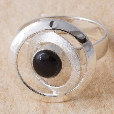 Obsidian and Sterling Silver Cocktail Ring from Peru