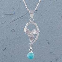 Amazonite pendant necklace, 'Floating Flower' - Amazonite and 925 Sterling Silver Floral Pendant Necklace