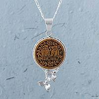 Mate gourd pendant necklace, 'Lovely Couple' - Mate Gourd and Sterling Silver Pendant Necklace from Peru