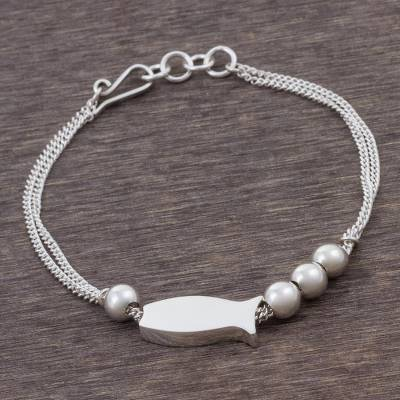 Sterling silver pendant bracelet, Smart Fish