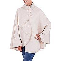 Alpaca blend cape, 'Champagne Blossoms' - Soft Alpaca Blend Rosy Beige Floral Peruvian Cape for Women