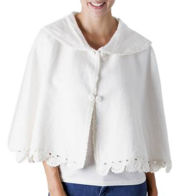 Ivory Color Soft Alpaca Blend Capelet with Crochet Borders