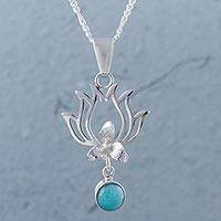Amazonite pendant necklace, 'Flaming Drops' - Amazonite and Sterling Silver Pendant Necklace from Peru