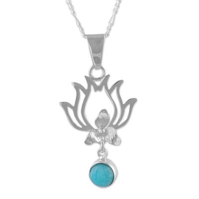 Amazonite and Sterling Silver Pendant Necklace from Peru