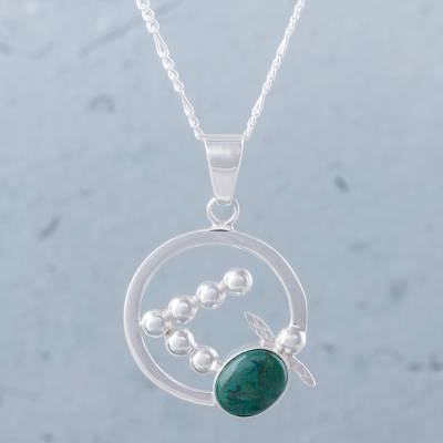 Chrysocolla pendant necklace, 'Flying Turtle' - Abstract Turtle on 925 Silver and Chrysocolla Necklace
