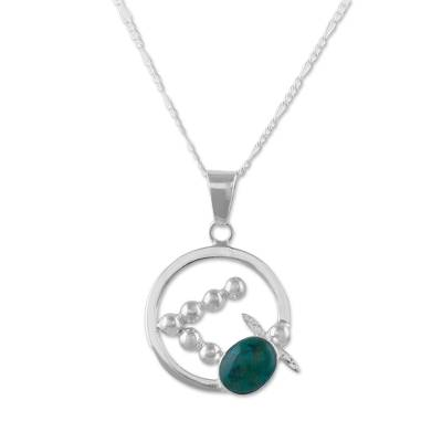 Abstract Turtle on 925 Silver and Chrysocolla Necklace
