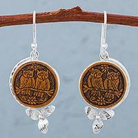 Mate gourd dangle earrings, 'Lovely Couple' - Owl and Flowers on 925 Silver Earrings with Dried Mate Gourd