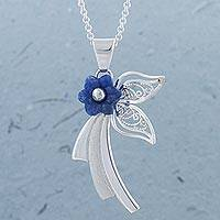 Sodalite pendant necklace, 'Spring Blue' - Sodalite and Sterling Silver Floral Pendant Necklace
