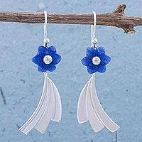 Sodalite dangle earrings, 'Dancing Flowers' - Sodalite and Sterling Silver Floral Dangle Earrings