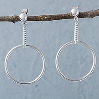 Sterling silver dangle earrings, 'Halo Chains' - Sterling Silver Circular Modern Dangle Earrings from Peru