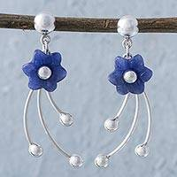 Sodalite flower dangle earrings,