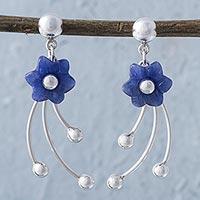 Sodalite flower dangle earrings,
