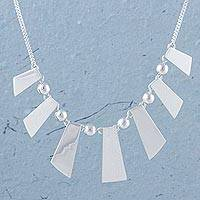 Sterling silver pendant necklace, 'Shimmering Rays' - Modern Sterling Silver Pendant Necklace from Peru